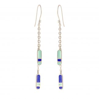 bliss double dangling silver earrings mint royal blue