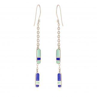 bliss double dangling silver earrings mint royal blue