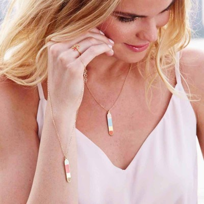 bliss gold cartouche necklace worn 3