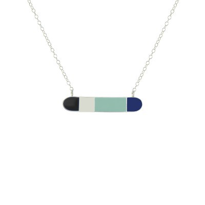 bliss horizontal bar necklace silver black mint royal blue