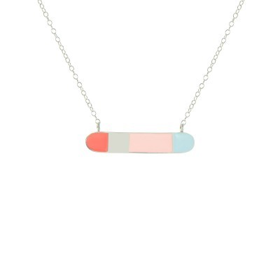 bliss horizontal bar necklace silver coral pastel pink pastel blue