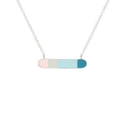 bliss horizontal bar necklace silver pastel pink pastel blue turquoise