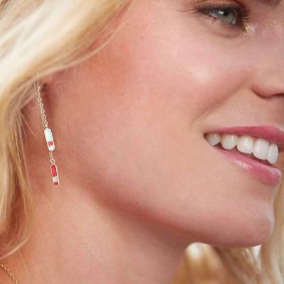 bliss long double earrings worn 2