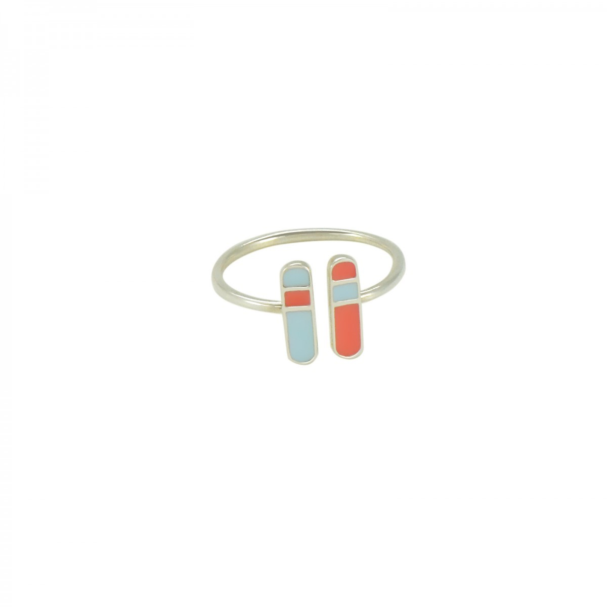 bliss ring silver pastel blue coral