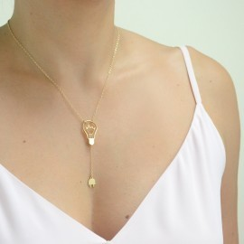 gold shine bulb necklace worn