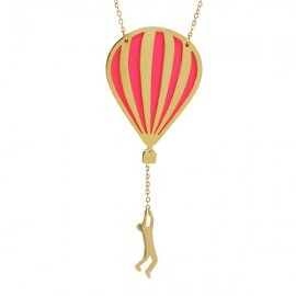 hot air balloon necklace gold neon pink