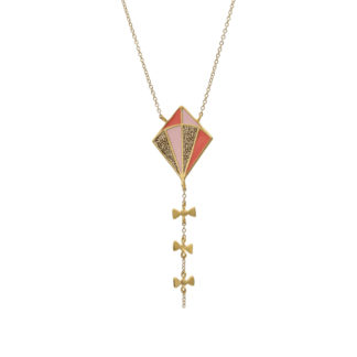 long gold kite necklace gold glitter pastel pink and coral enamel