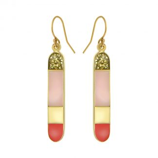 long Bliss solid colorblock earrings gold jaipur