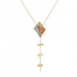 long kite necklace glitt pblue coral