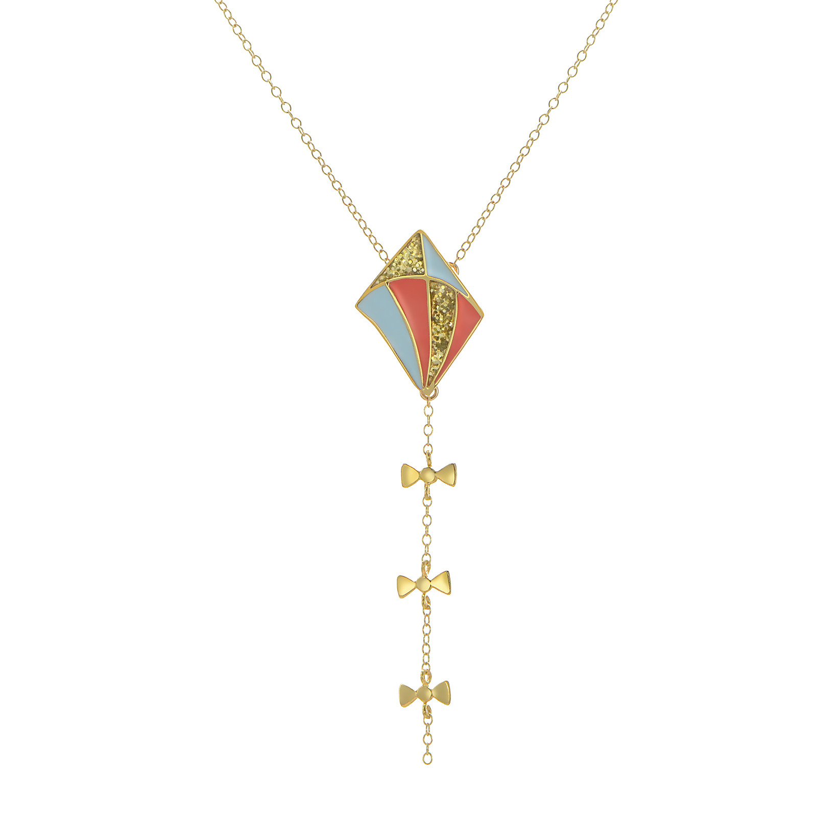 long kite necklace glitt pblue coral
