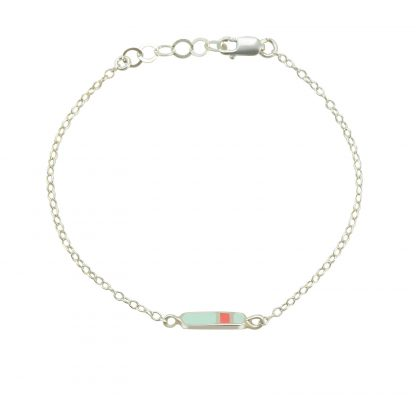 mini Bliss bracelet silver mint coral