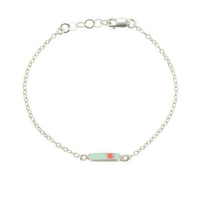 mini Bliss bracelet silver mint coral