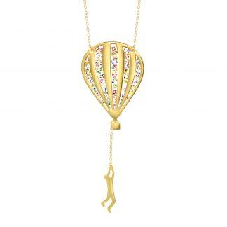 sparkling glitter hot air balloon necklace