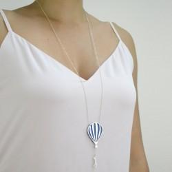silver and blue hot air balloon worn