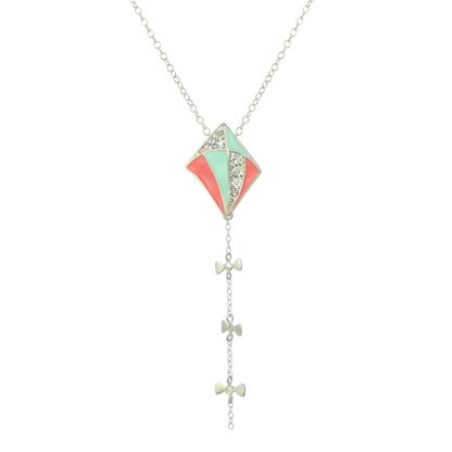 silver long kite necklace