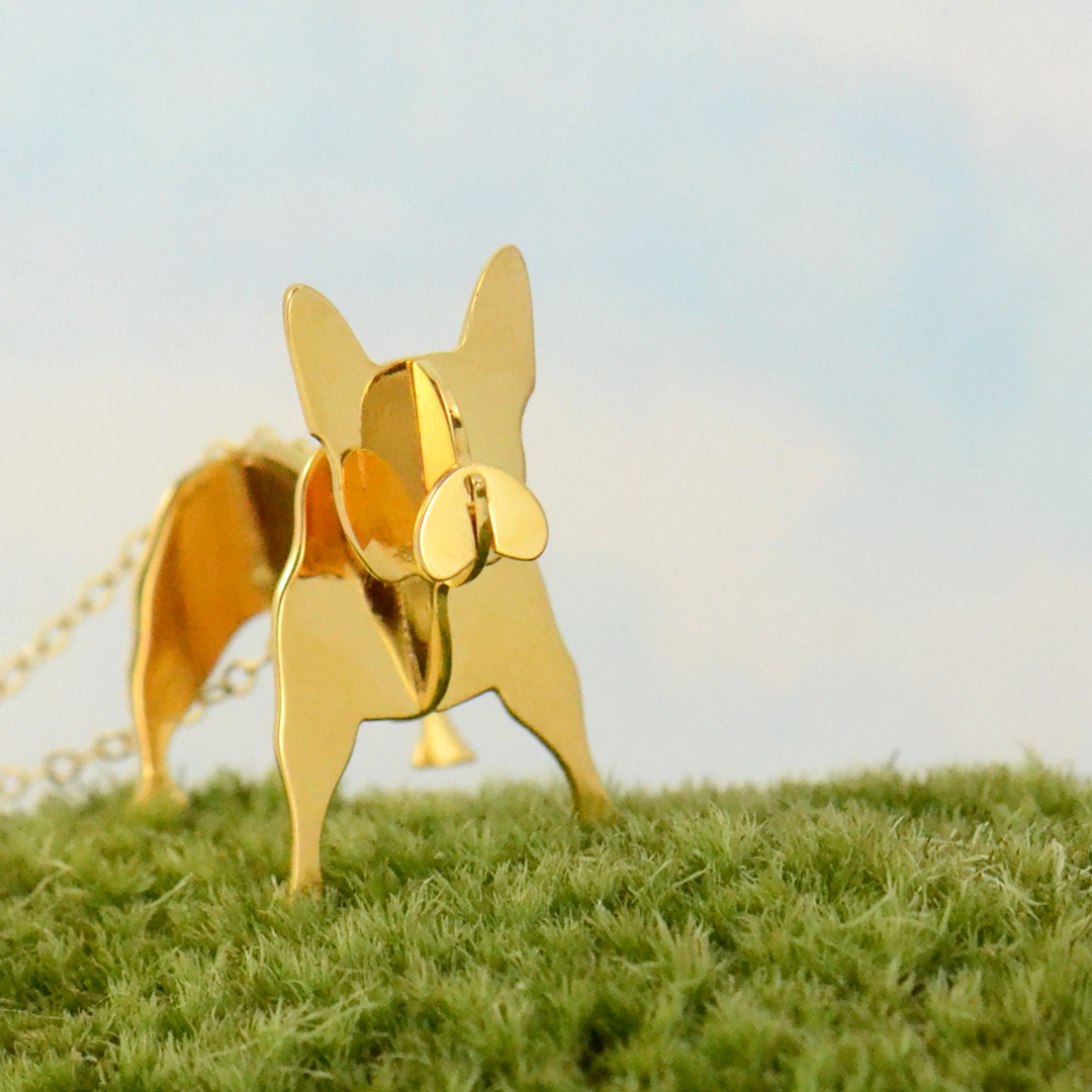 gold frenchie necklace in grass