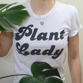 silver monstera necklace on plant lady