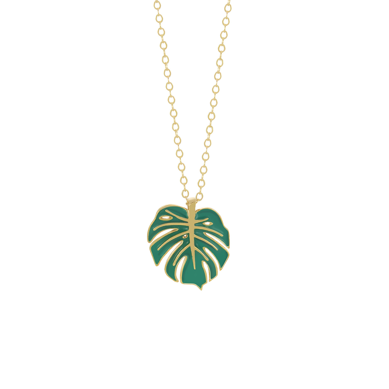 monstera necklace gold evergreen