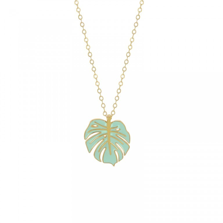 monstera necklace gold mint
