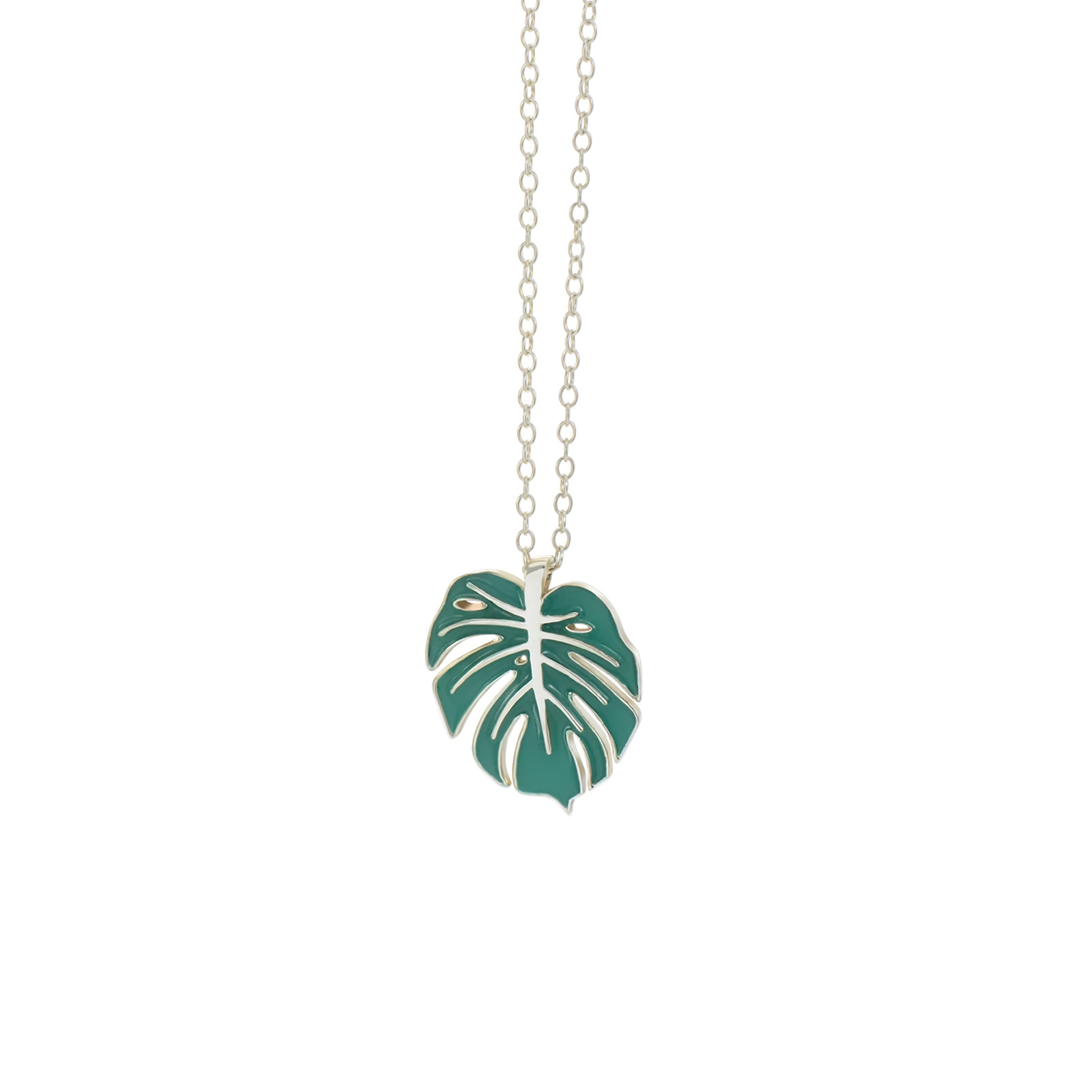 monstera necklace silver evergreen