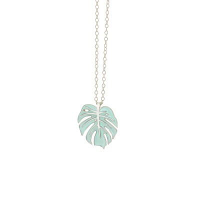 monstera necklace silver mint