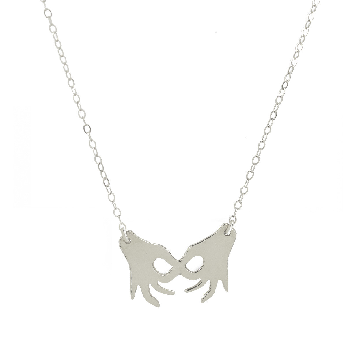 united hands necklace silver