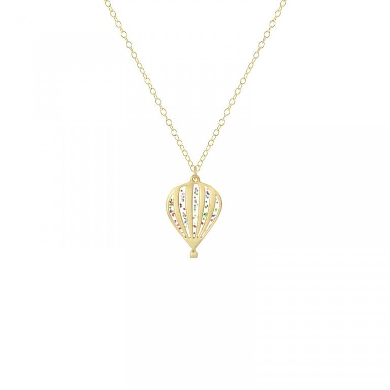 mini festive hot air balloon necklace gold