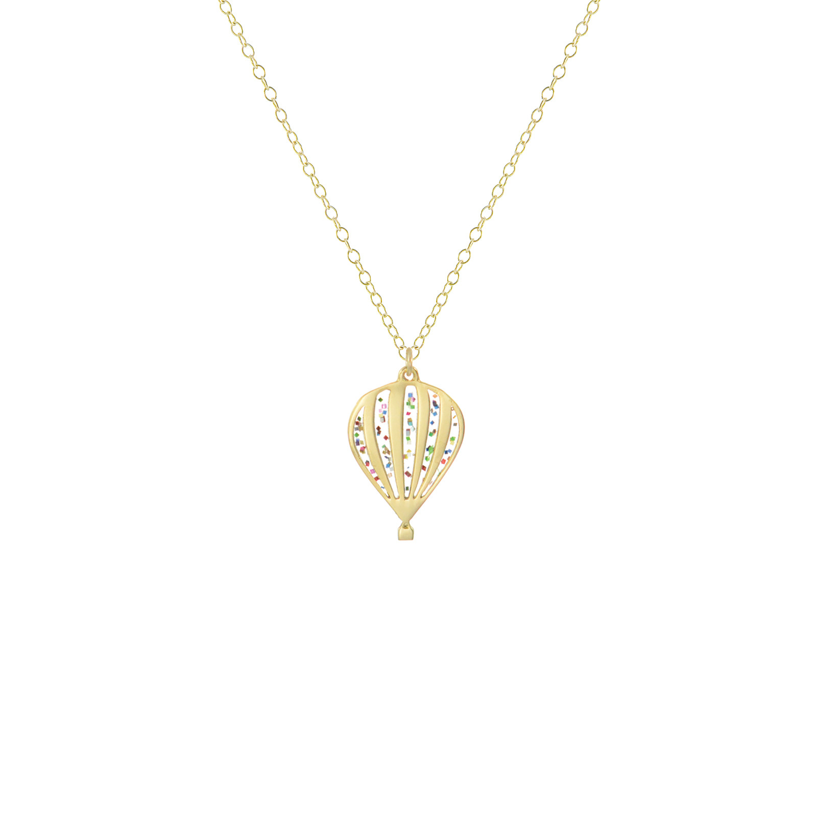 mini festive hot air balloon necklace gold