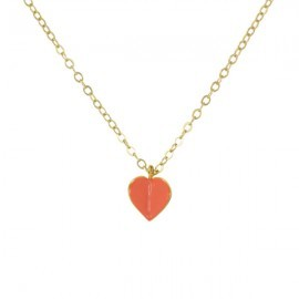 gold coral heart necklace