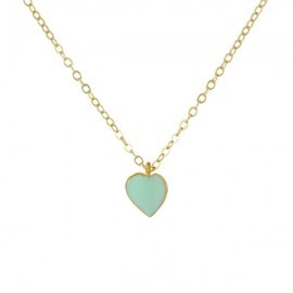 gold and mint heart necklace