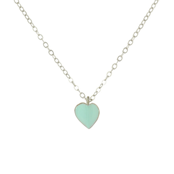 925 silver heart necklace with mint enamel