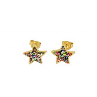 festive multiglitter star earring studs in gold vermeil
