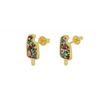multiglitter popsicle studs in 14k gold vermeil