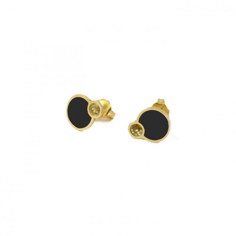 black and glitter eclipse earring studs