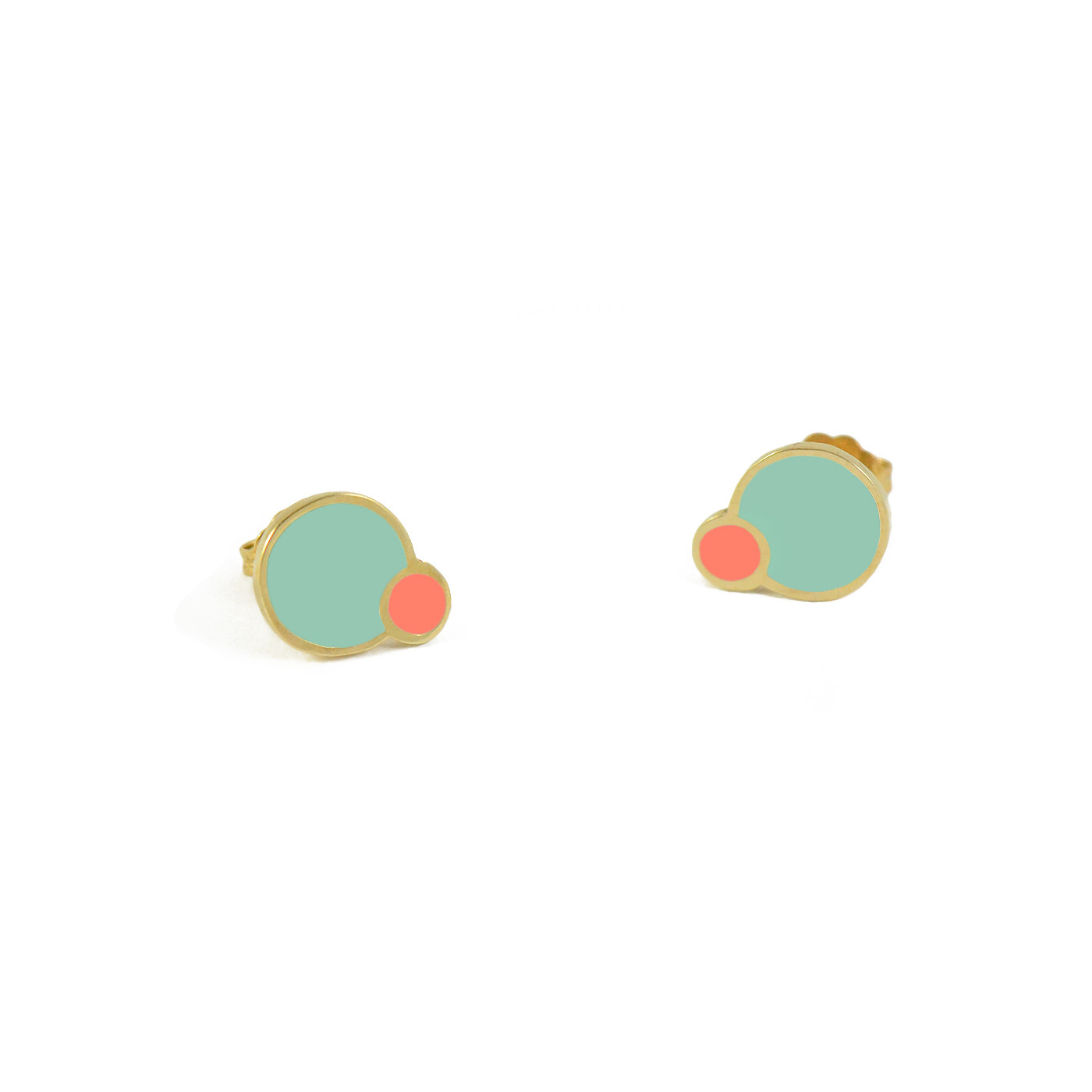 eclipse studs gold mint coral