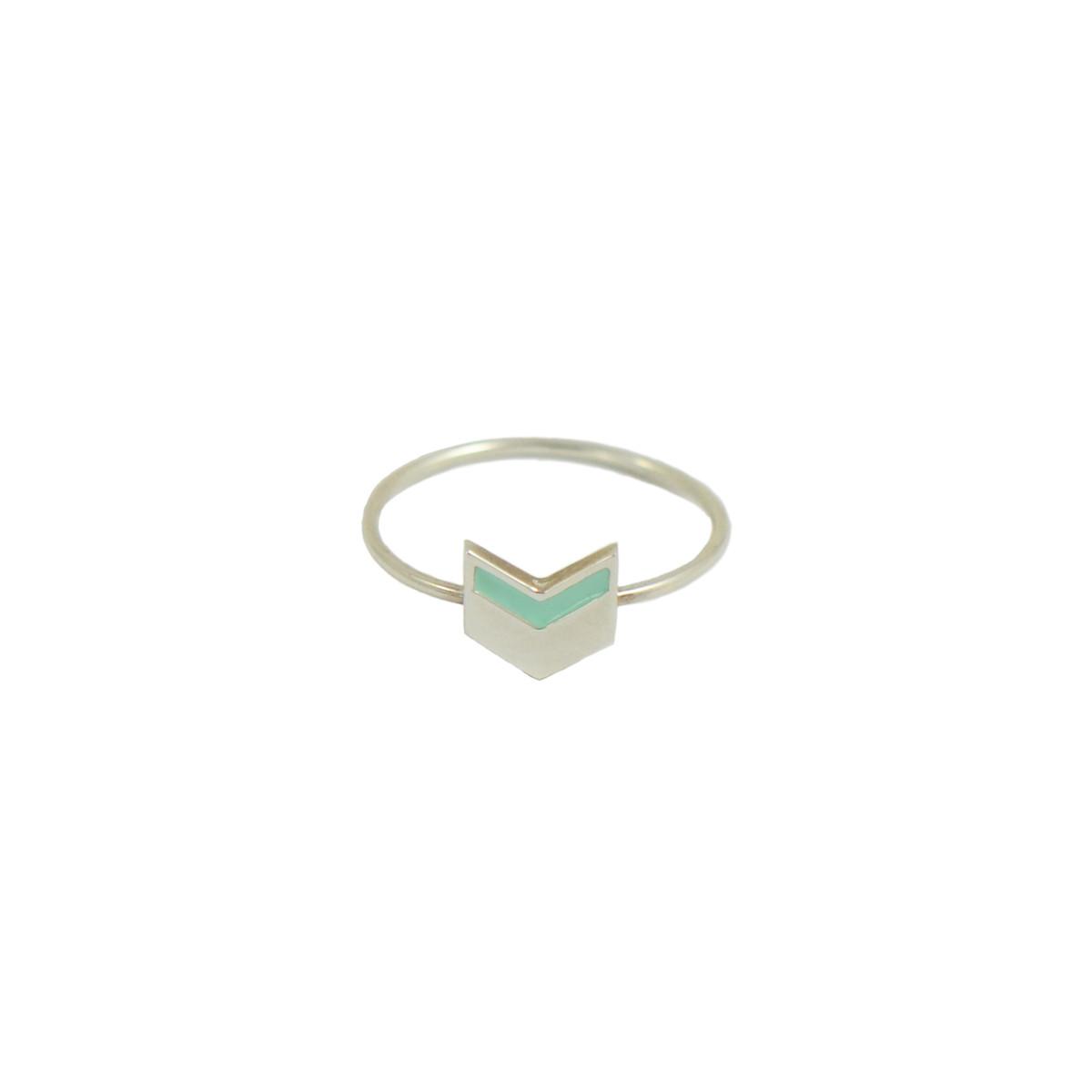 chevron ring silver mint