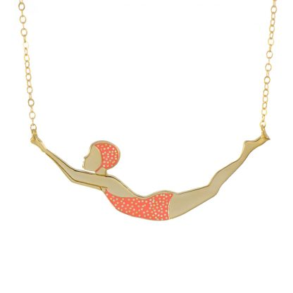 golden dots coral swimmer necklace