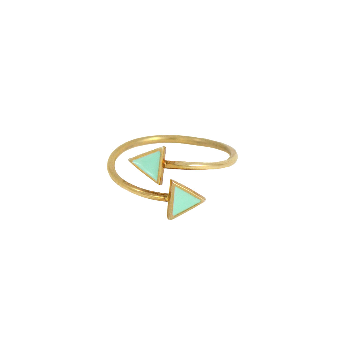 double triangle ring gold mint
