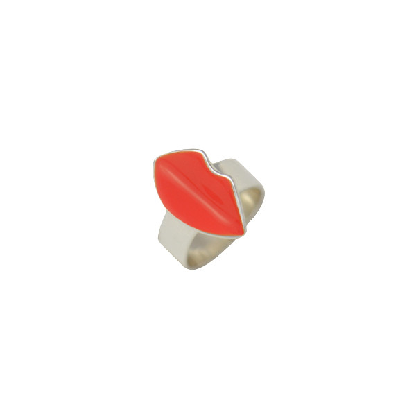 kiss ring silver red