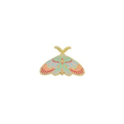 colorful moth label pin