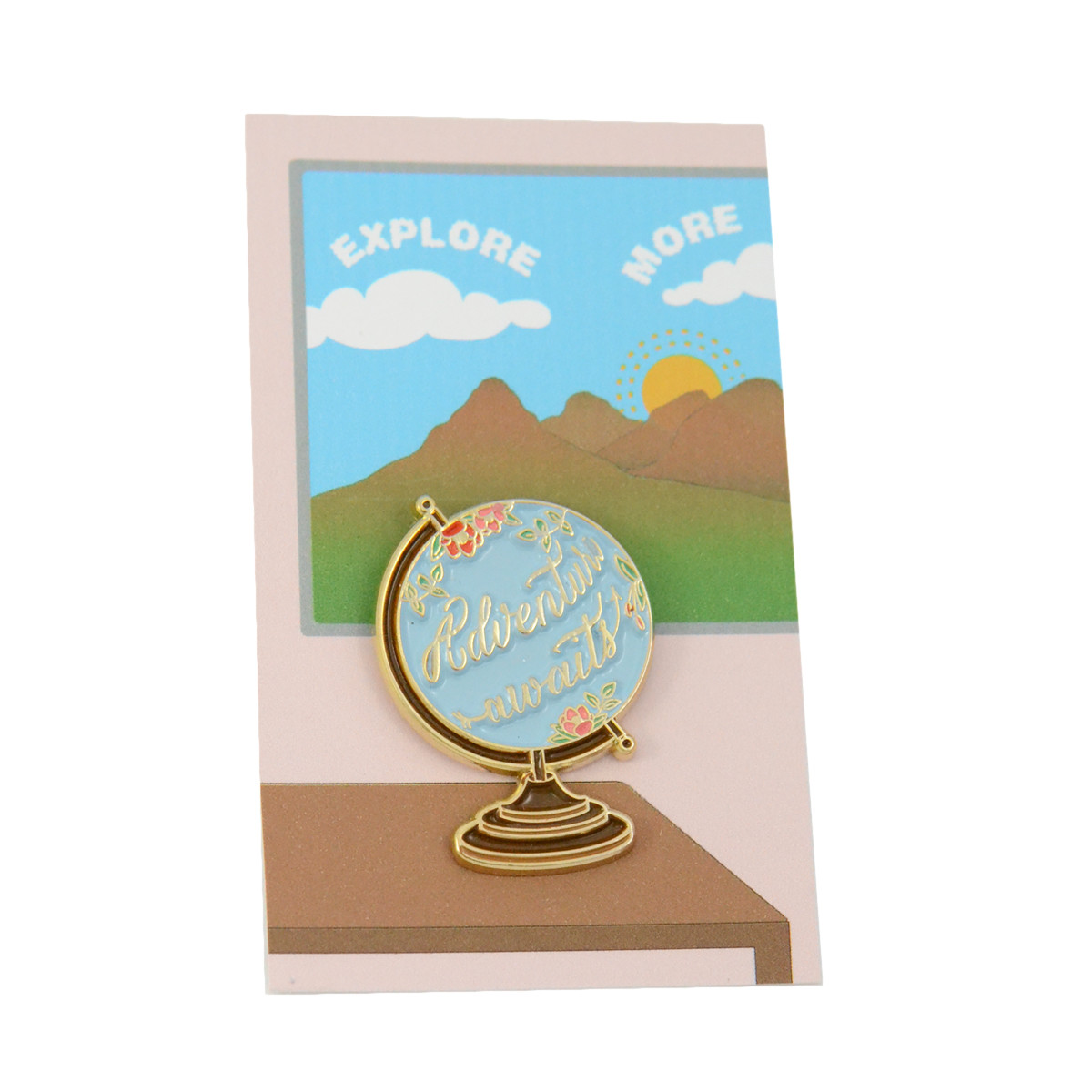 adventure awaits pin on card