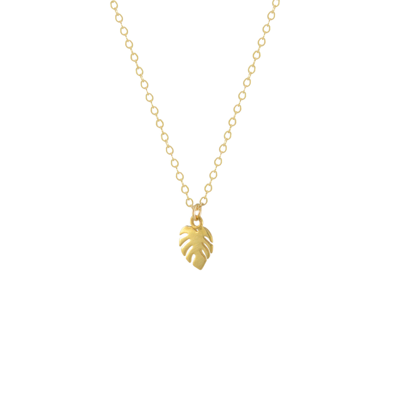 mini monstera necklace gold