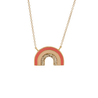 gold rainbow necklace in coral peach and gold glitter enamel