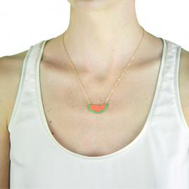 watermelon gold necklace on model