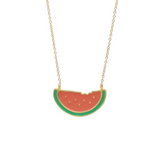 watermelon necklace with enamel on a gold filled chain