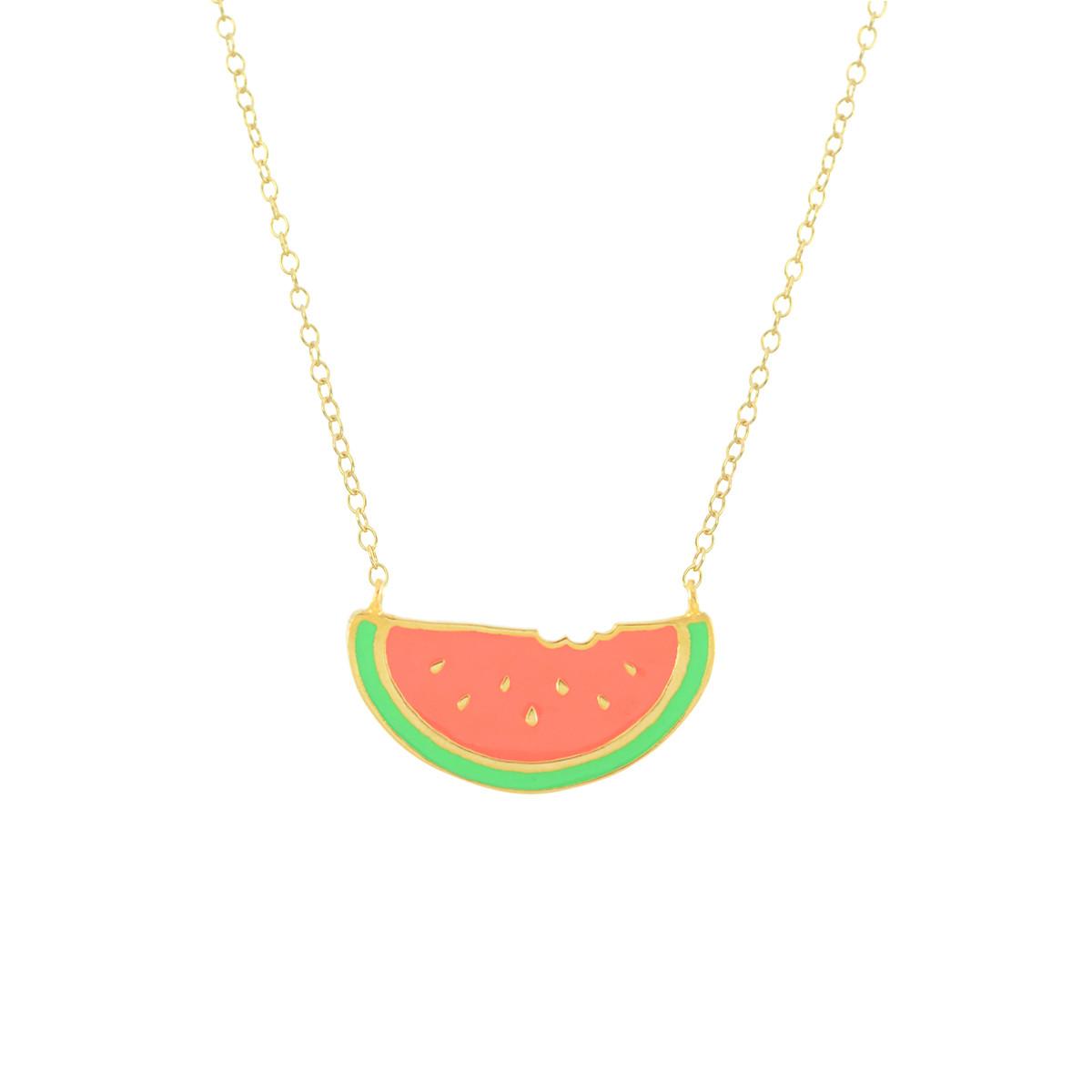 watermelon gold necklace virginie millefiori