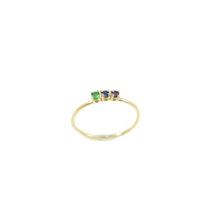 14k gold ring with emerald and blue sapphire