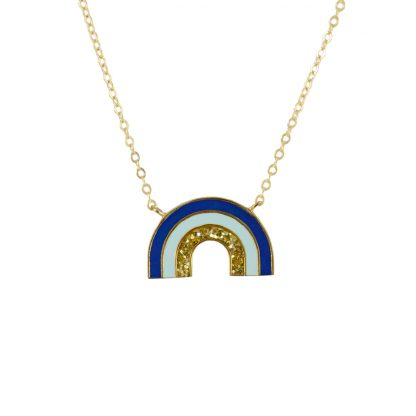 rainbow necklace gold blue glitter