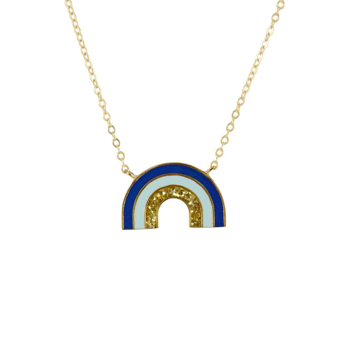 rainbow necklace gold blue glitter