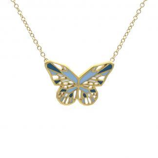 Blue Butterfly necklace gold pastel blue and turquoise